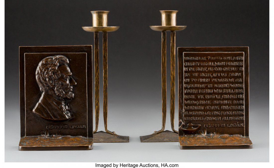 79246: Pair of Roycroft Princess Candlesticks with Bron