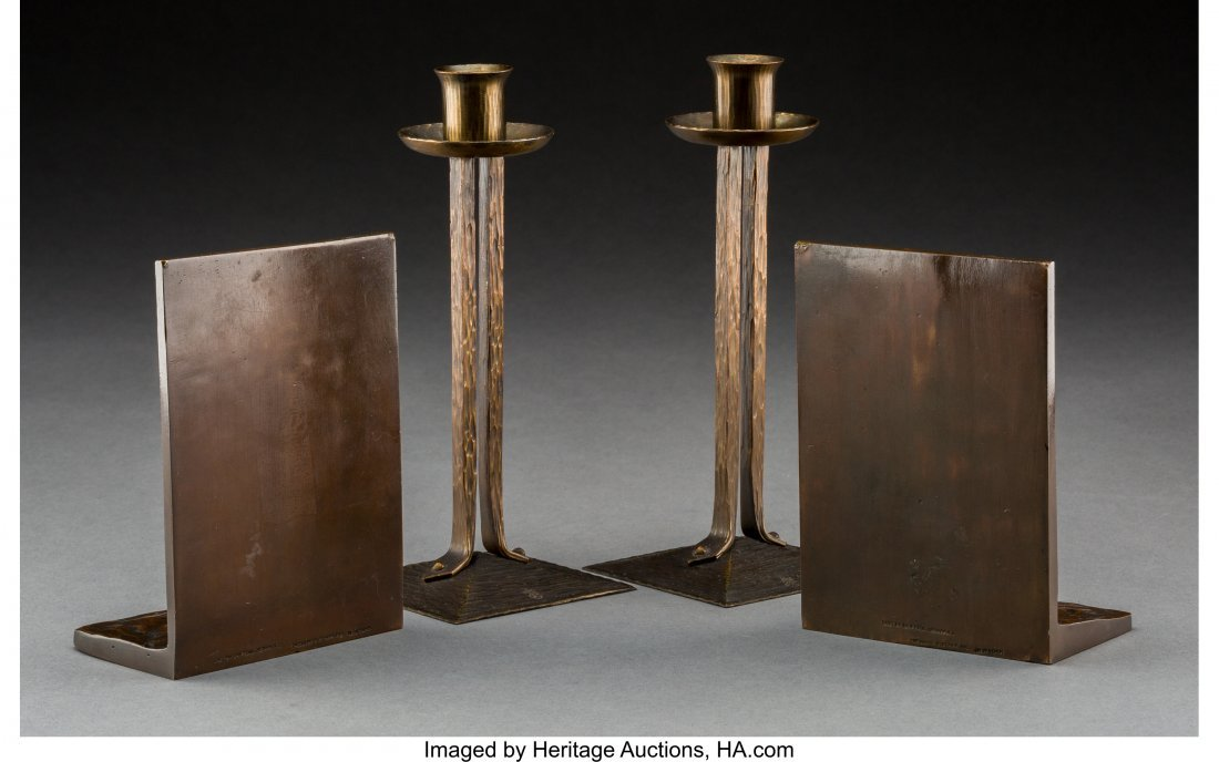 79246: Pair of Roycroft Princess Candlesticks with Bron - 2
