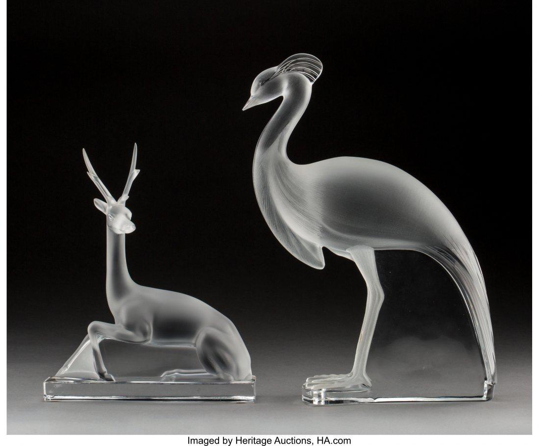 79221: A Lalique Glass Crane and Antelope  Post-1945. E