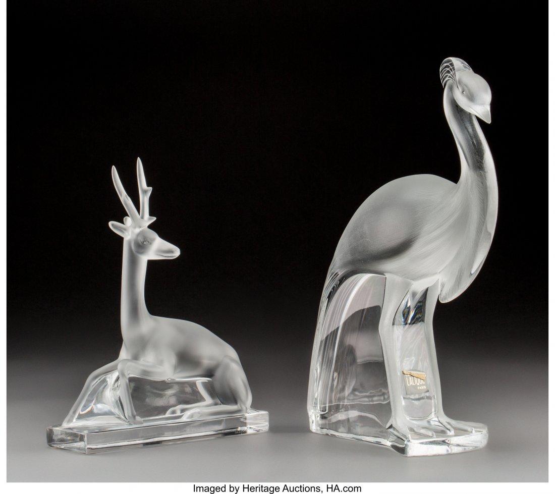 79221: A Lalique Glass Crane and Antelope  Post-1945. E - 2