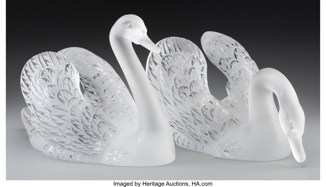 79223: Pair of Lalique Clear and Frosted Glass Cygne Te