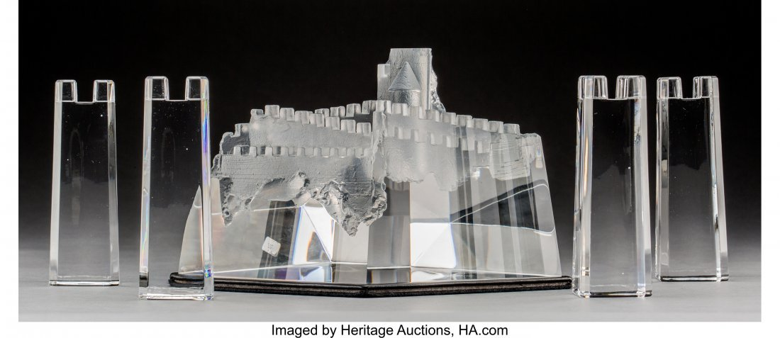 79083: Steuben Clear Glass Castle of Dreams with Four A