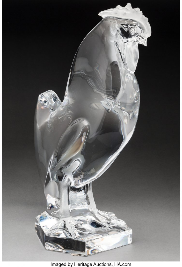 79224: Lalique Clear and Frosted Glass Coq Post-1945. E