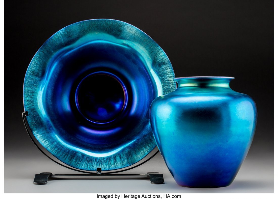 79250: Steuben Blue Aurene Glass Vase and Center Bowl o