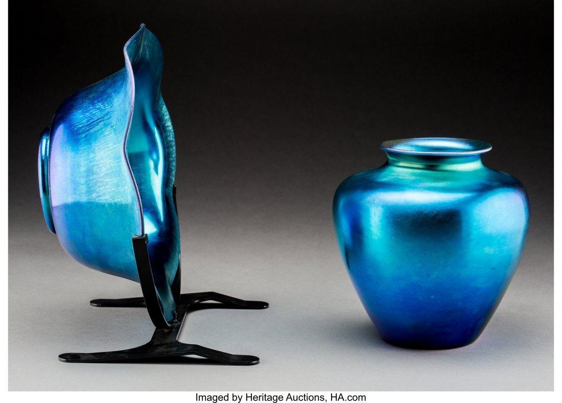 79250: Steuben Blue Aurene Glass Vase and Center Bowl o - 2