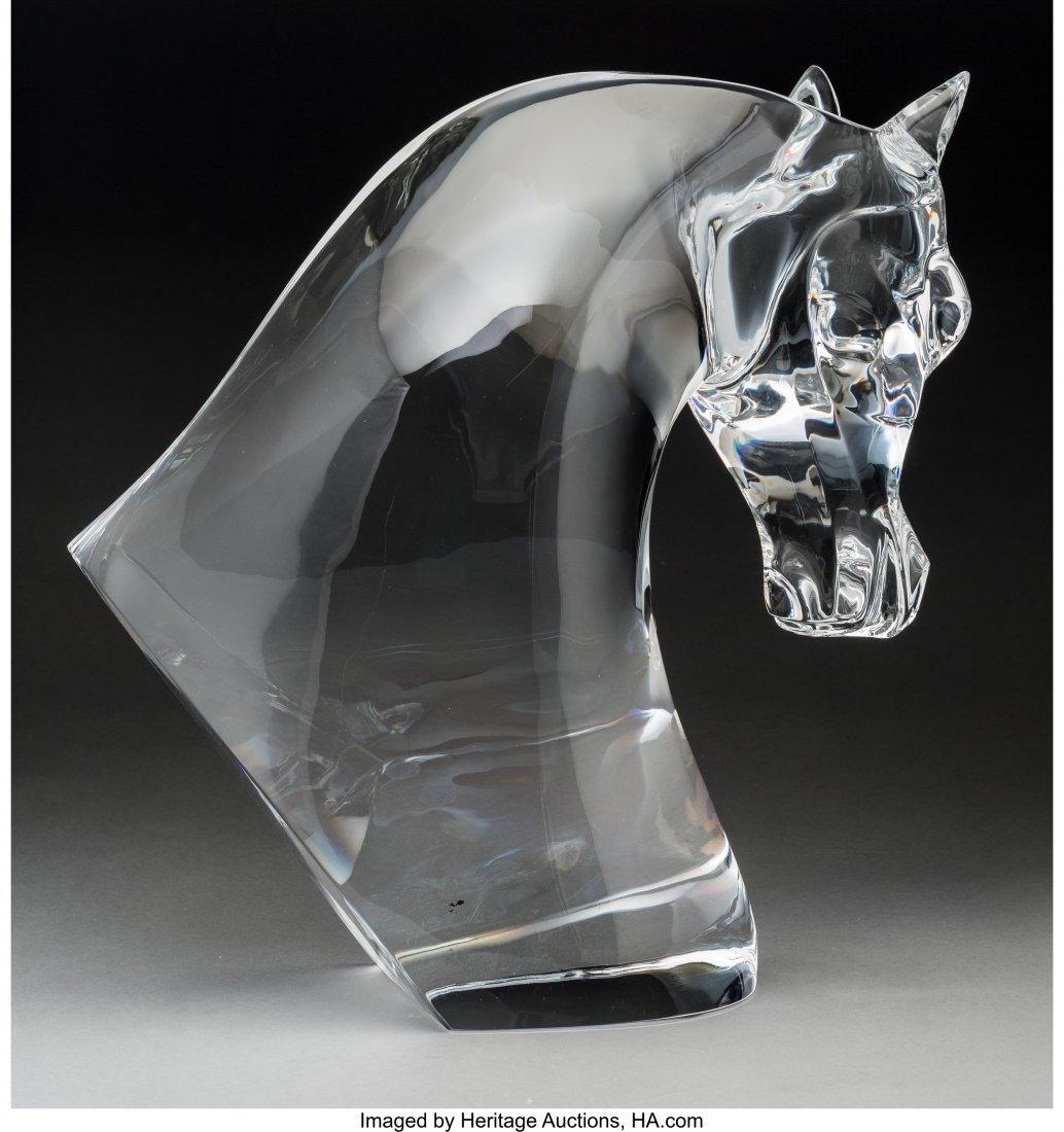 79225: Lalique Clear Glass Tete de Chevel Bust Post-194 - 2