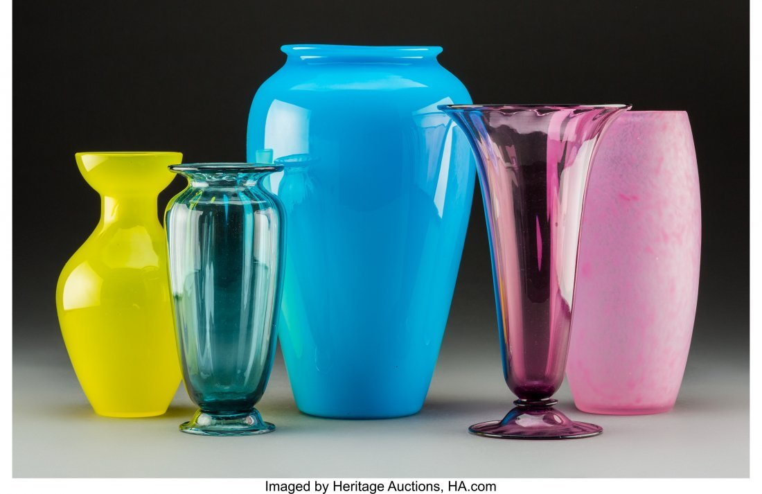 79263: Five Steuben Colored Glass Vases Circa 1920. Ste