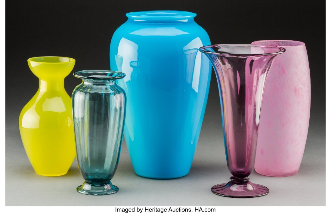 79263: Five Steuben Colored Glass Vases Circa 1920. Ste - 2