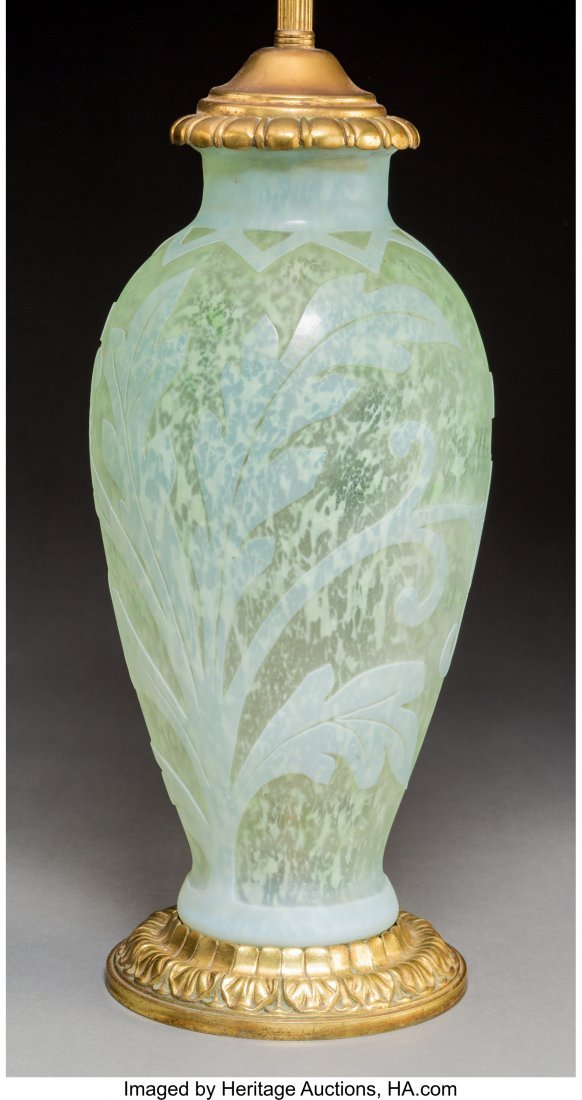79282: Steuben Cintra Overlay Glass Vase Mounted as a L