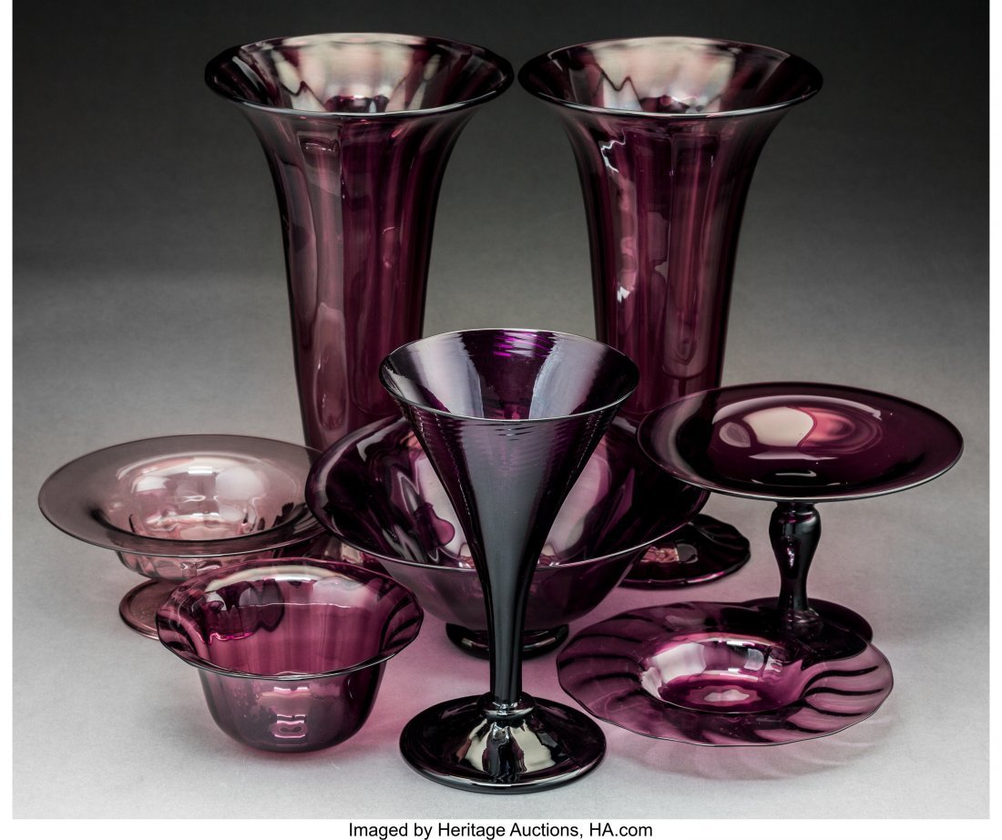 79266: Eight Steuben Amethyst Glass Tableware Items Cir - 2