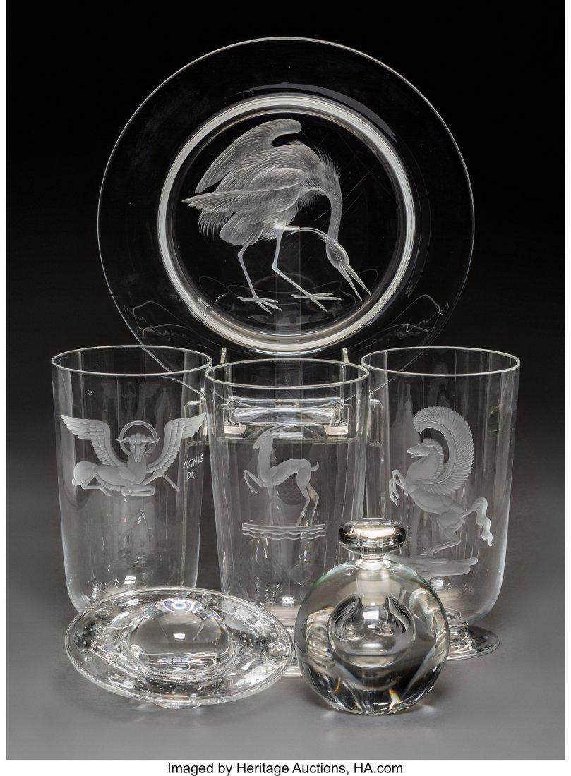 79285: Six Steuben Clear Glass Articles 20th century. E