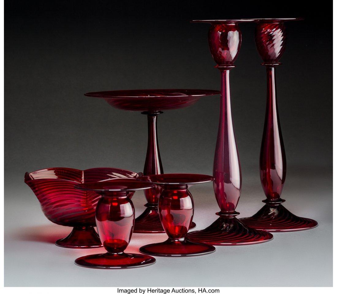79268: Six Steuben Selenium Red Glass Tableware Items C