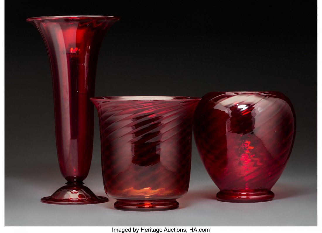 79269: Three Steuben Red Selenium Glass Vases Circa 192