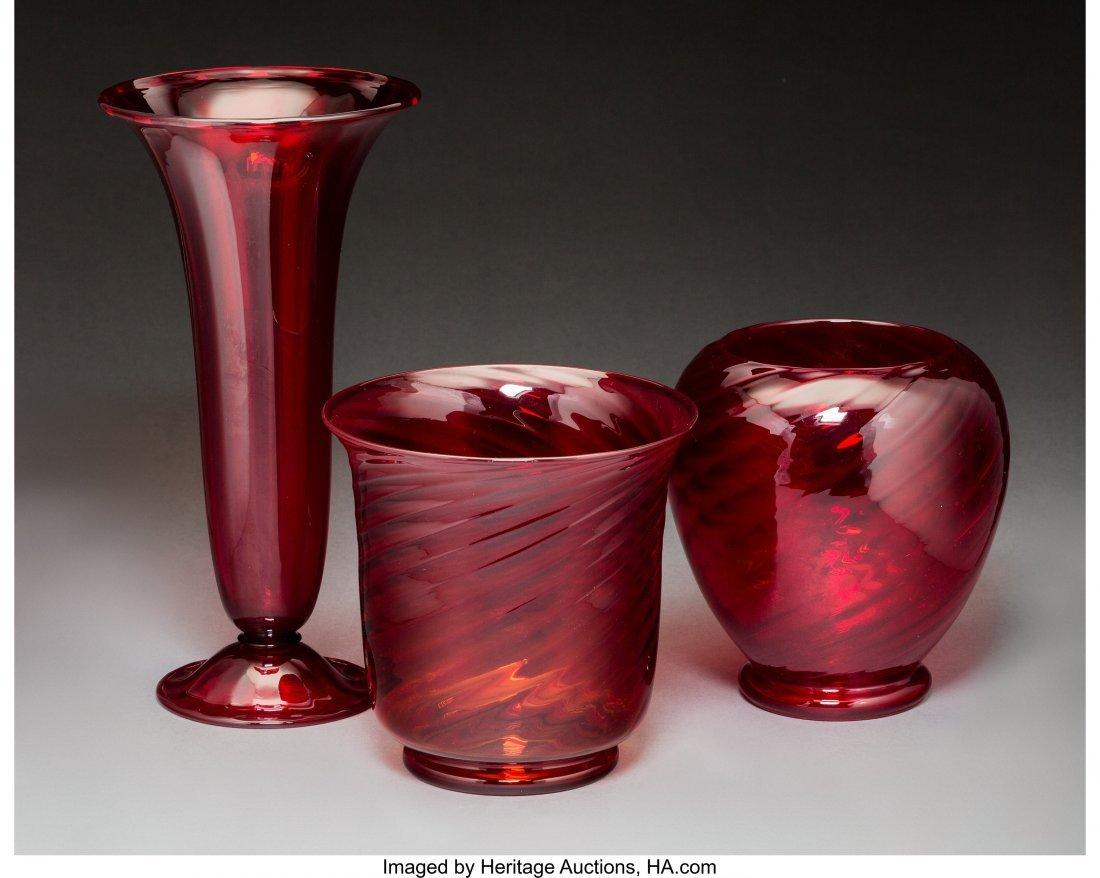 79269: Three Steuben Red Selenium Glass Vases Circa 192 - 2