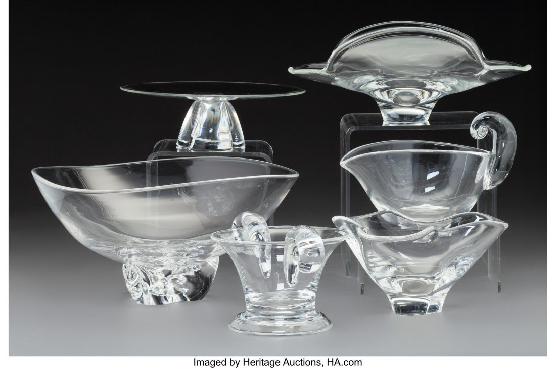 79288: Six Steuben Clear Glass Table Articles 20th cent