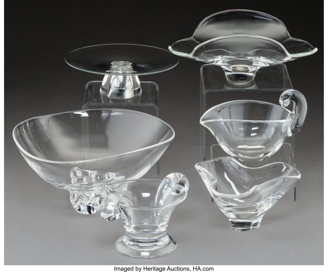 79288: Six Steuben Clear Glass Table Articles 20th cent - 2