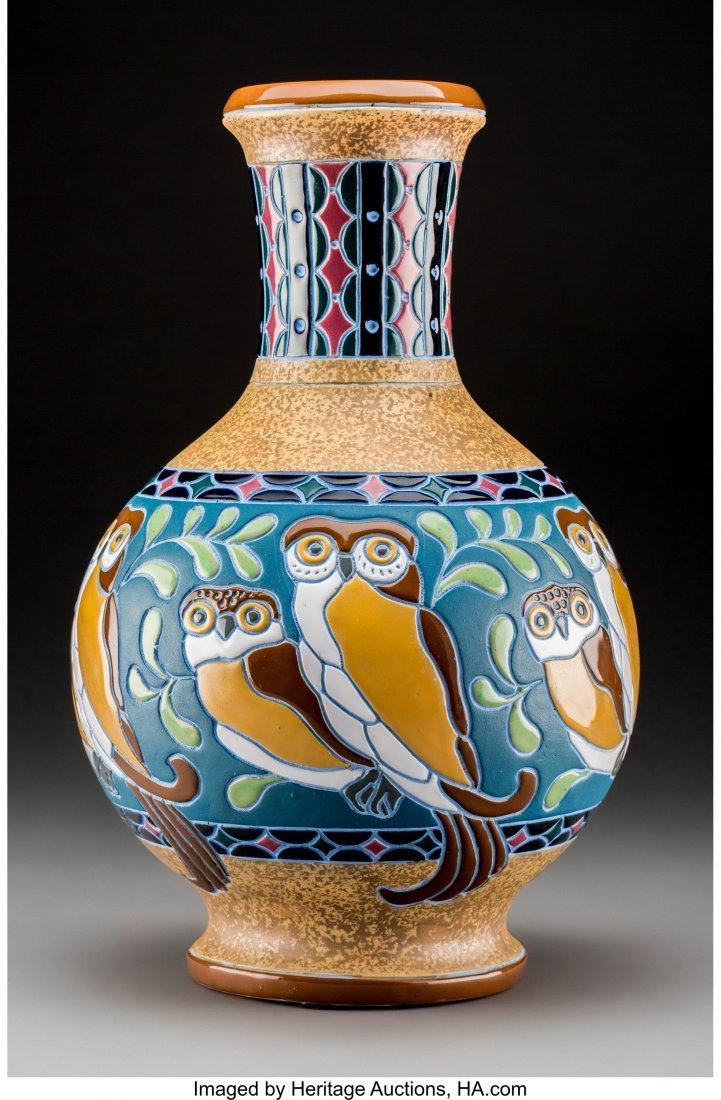 79107: Amphora Enameled Earthenware Owl Vase Circa 1920