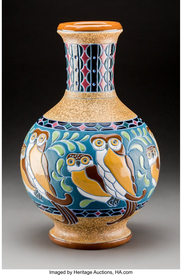 79107: Amphora Enameled Earthenware Owl Vase Circa 1920 - 2