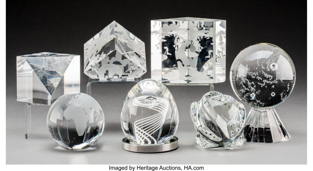79294: Seven Various Steuben Clear Glass Paperweights