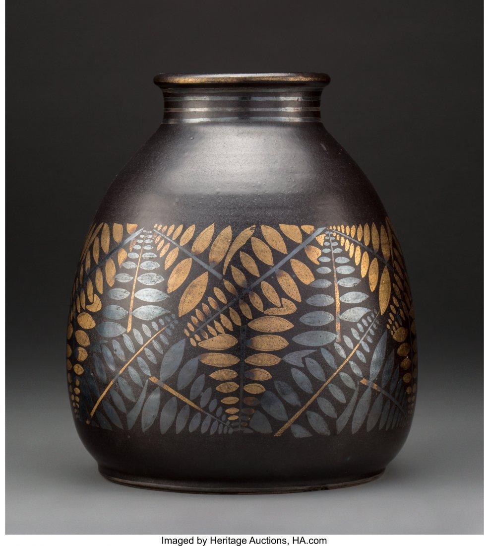 79182: Jean Luce Black and Gilt Glazed Stoneware Fern V