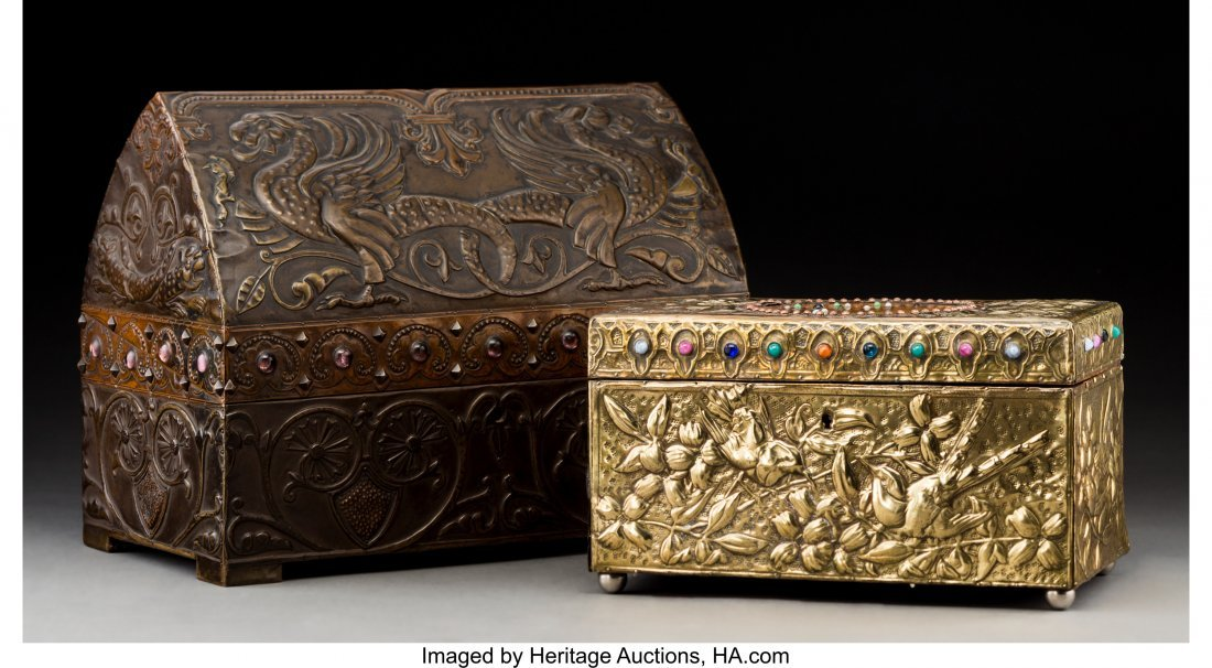 79040: Two French Repoussé Jewelry Boxes in the Style