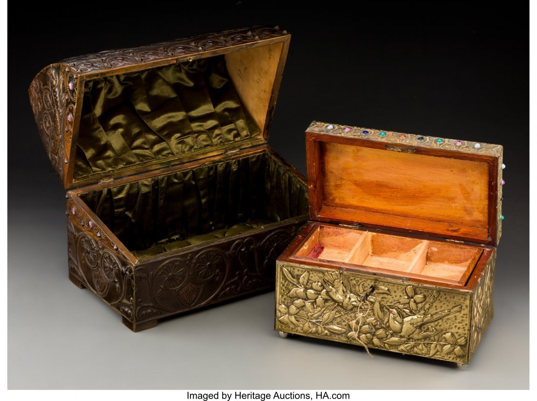 79040: Two French Repoussé Jewelry Boxes in the Style  - 2