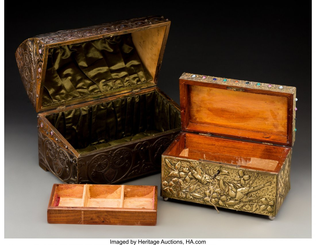 79040: Two French Repoussé Jewelry Boxes in the Style  - 3