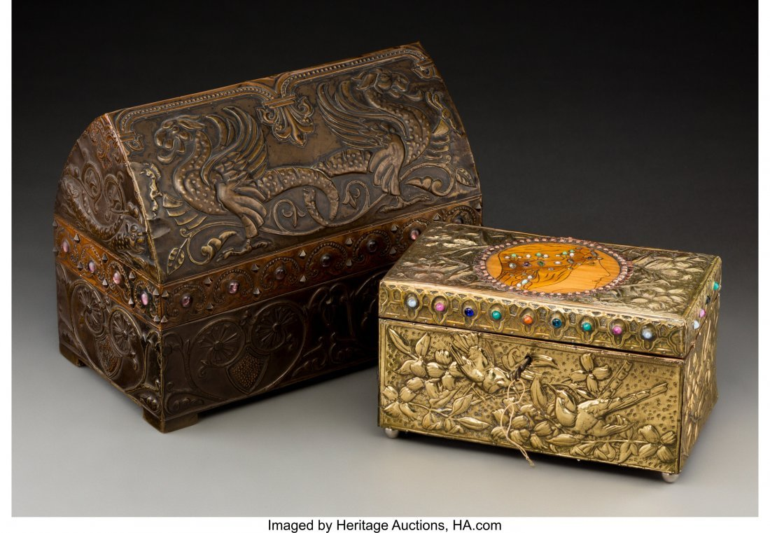 79040: Two French Repoussé Jewelry Boxes in the Style  - 4