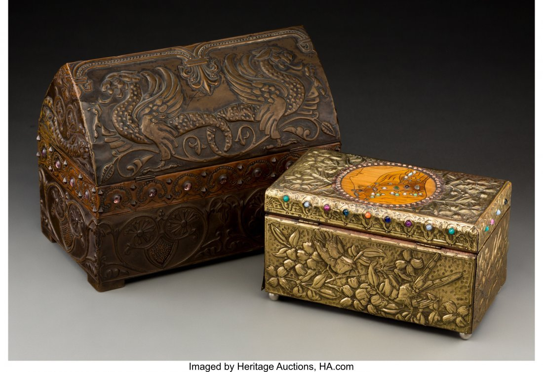 79040: Two French Repoussé Jewelry Boxes in the Style  - 5