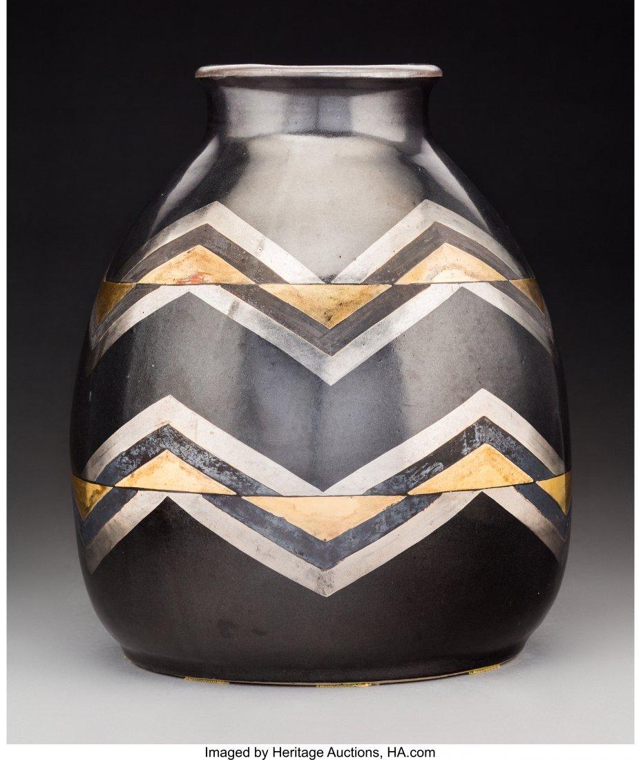 79183: Jean Luce Black and Gilt Glazed Stoneware Chevro