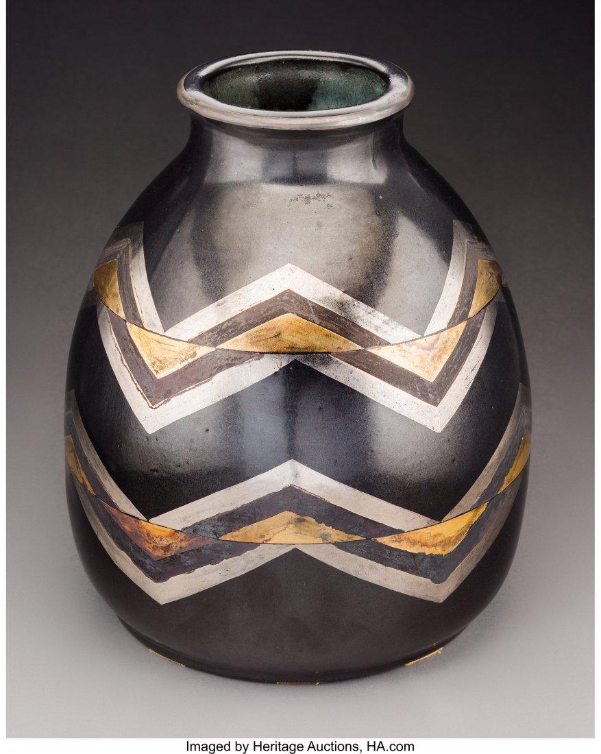79183: Jean Luce Black and Gilt Glazed Stoneware Chevro - 2