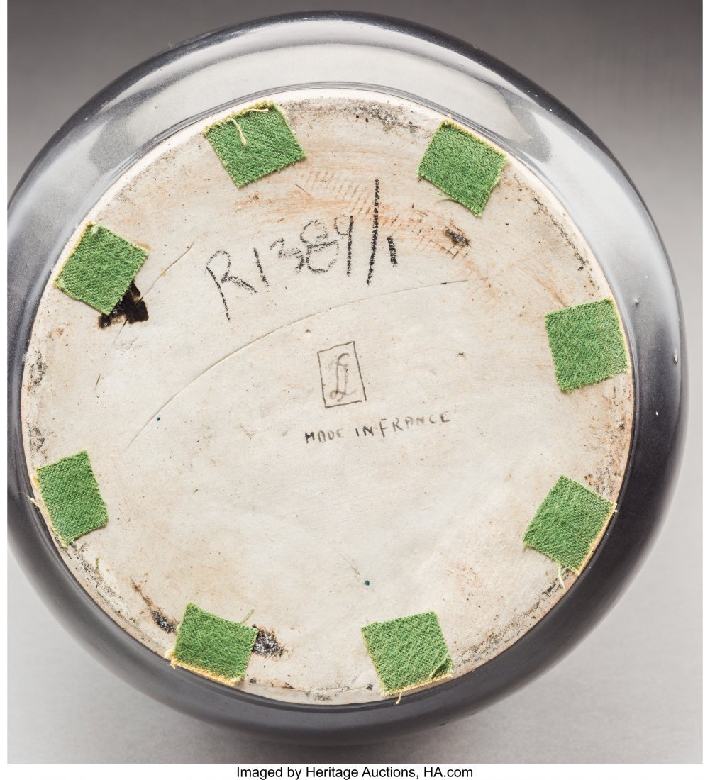 79183: Jean Luce Black and Gilt Glazed Stoneware Chevro - 3