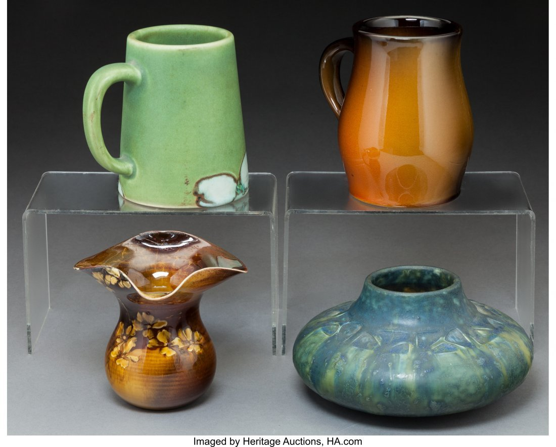 79299: Four Rookwood Pottery Standard and Vellum Glaze  - 2