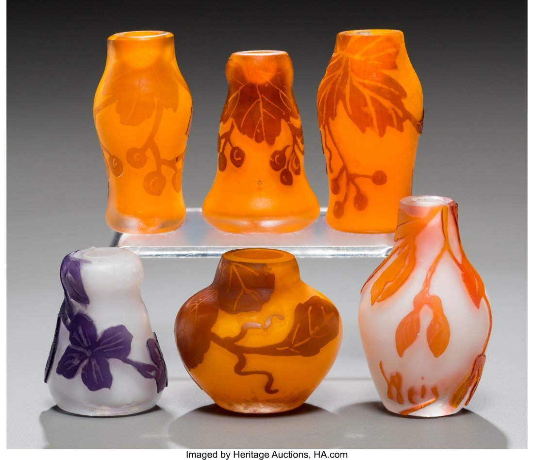 79325: Six Weis Overlay Glass Miniature Cabinet Vases E