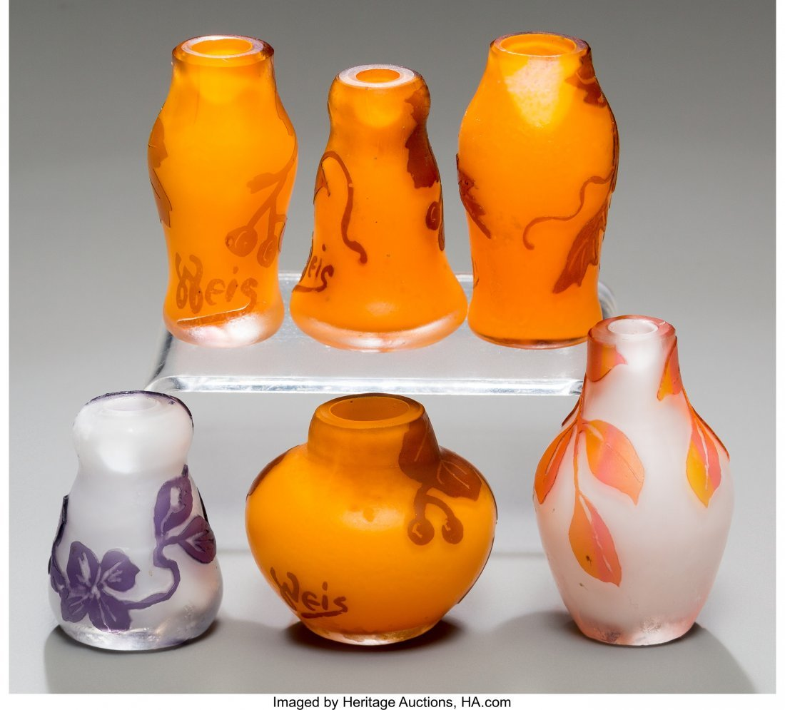 79325: Six Weis Overlay Glass Miniature Cabinet Vases E - 2