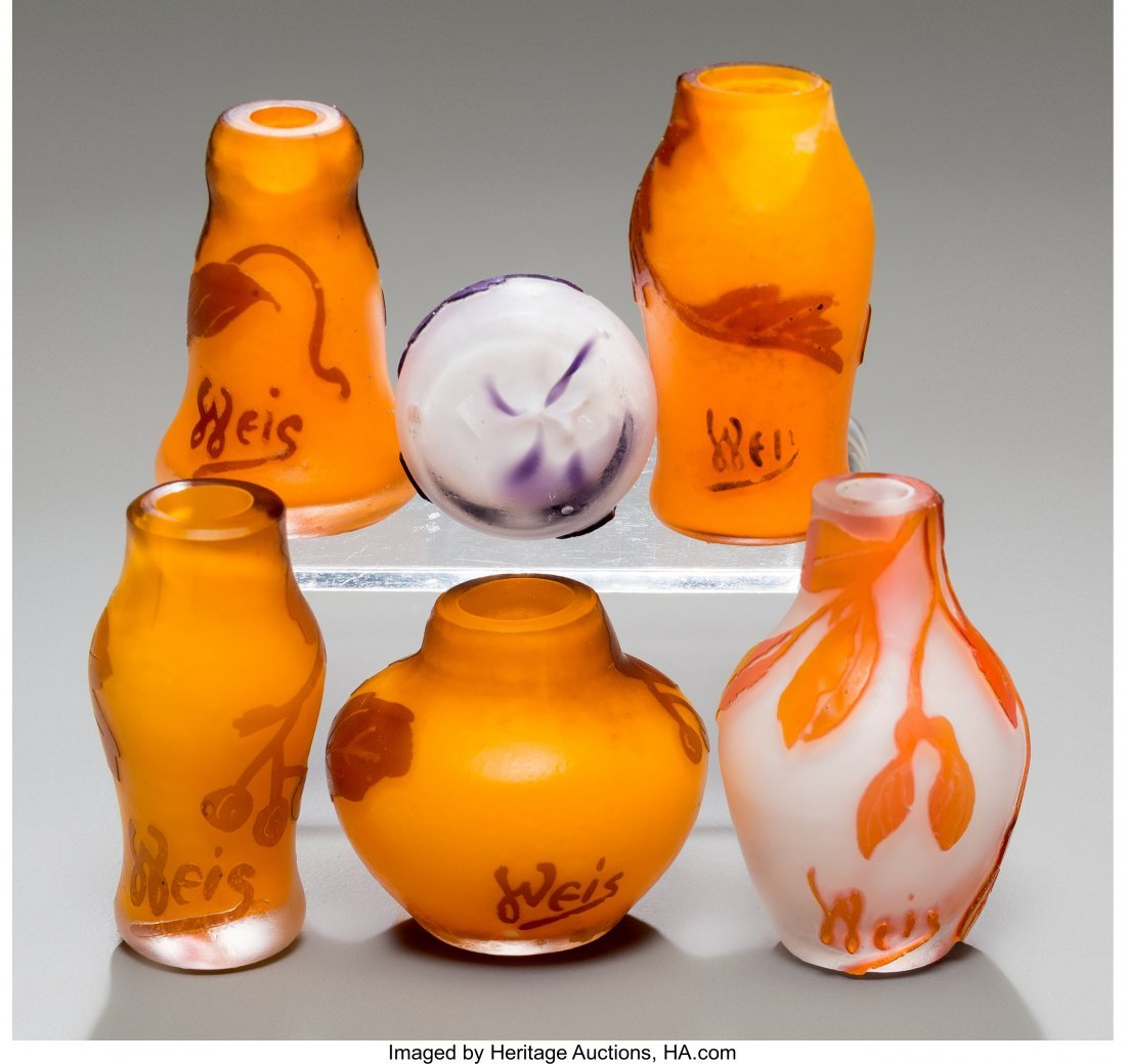 79325: Six Weis Overlay Glass Miniature Cabinet Vases E - 3