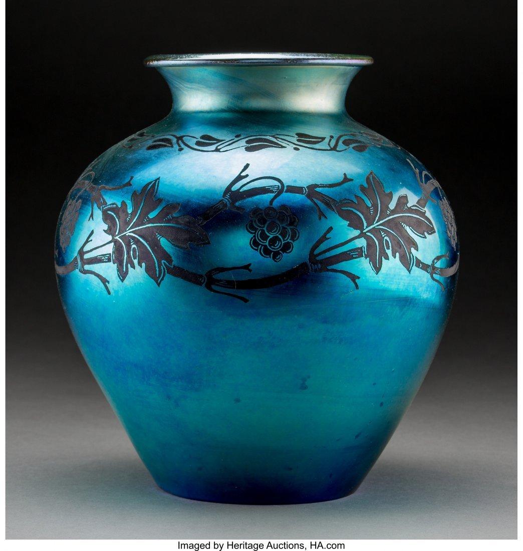 79048: Steuben Intaglio Blue Aurene Glass Blackberry Va