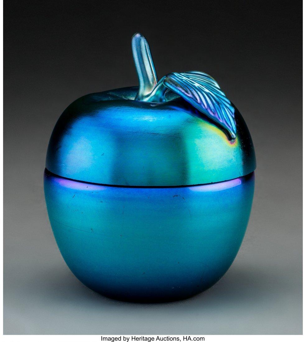 79050: Steuben Blue Aurene Glass Apple Box Circa 1920.