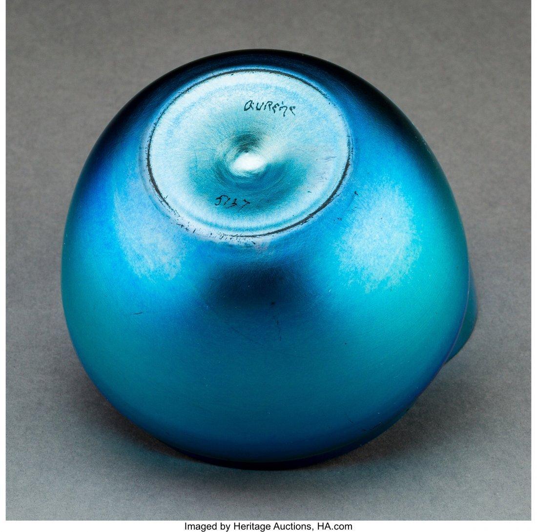 79050: Steuben Blue Aurene Glass Apple Box Circa 1920.  - 3