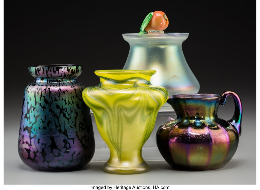 79311: Three Loetz Iridescent Glass Vases with Steuben