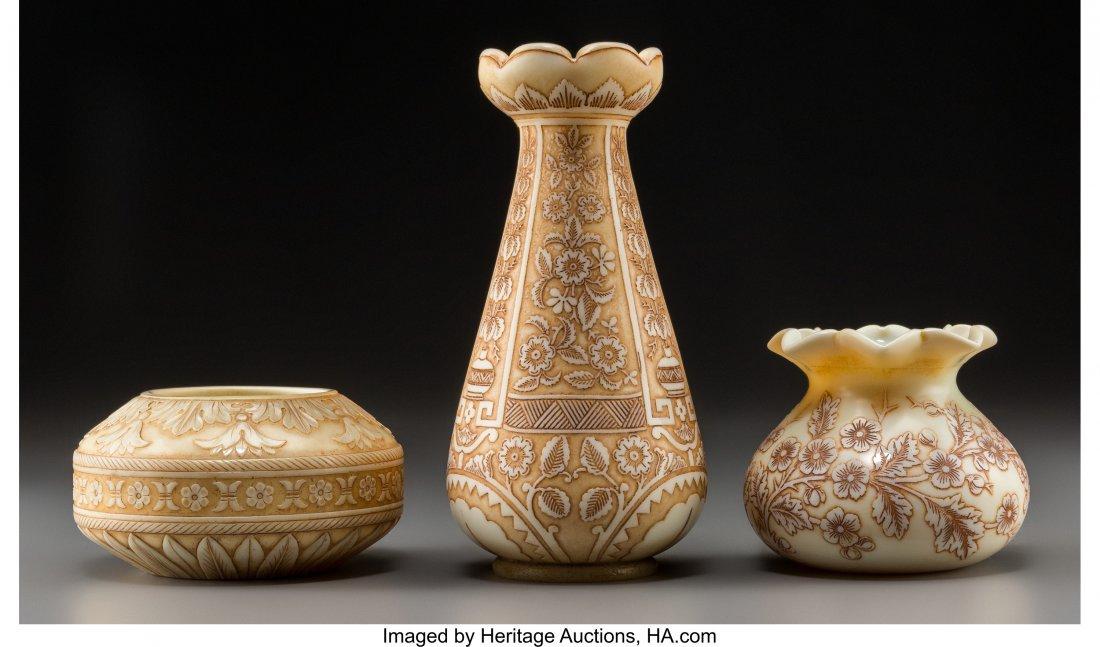 79316: Three Thomas Webb & Sons Ivory Glass Vases Circa