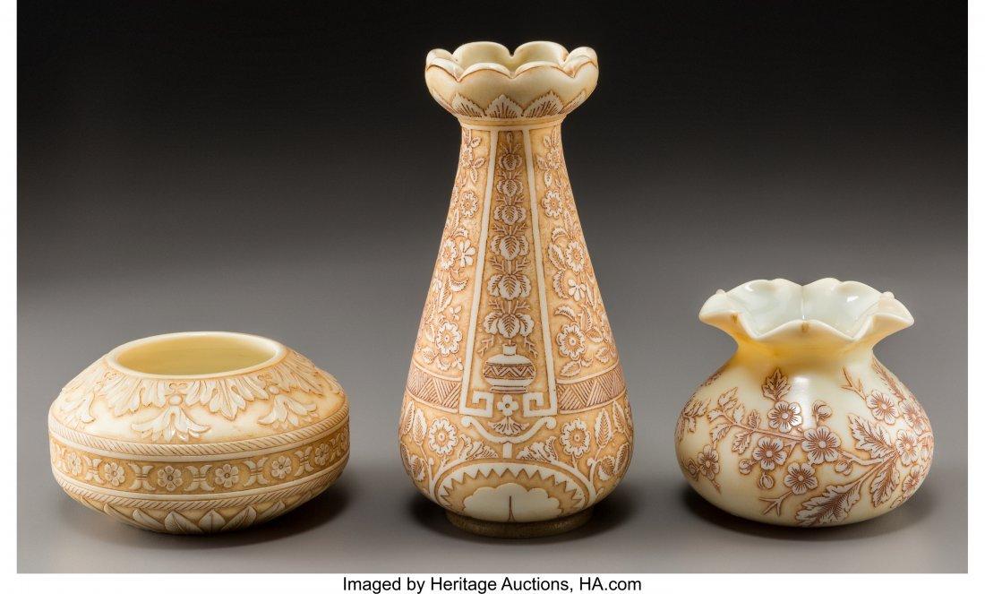 79316: Three Thomas Webb & Sons Ivory Glass Vases Circa - 2