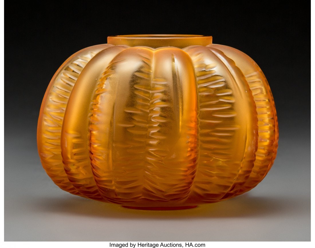 79204: Lalique Amber Glass Halloween Cabinet Vase In or