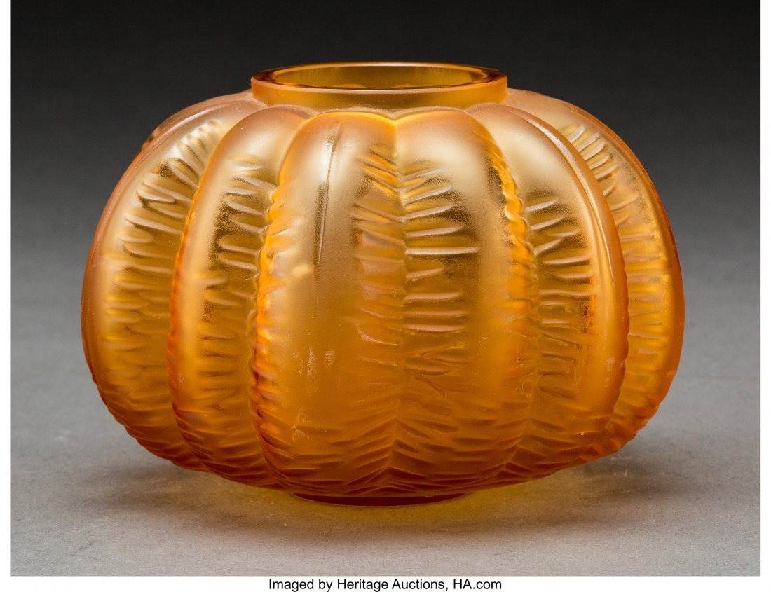 79204: Lalique Amber Glass Halloween Cabinet Vase In or - 2