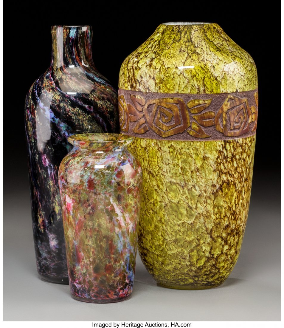 79319: Three Mottled and Agate Glass Vases Circa 1930.