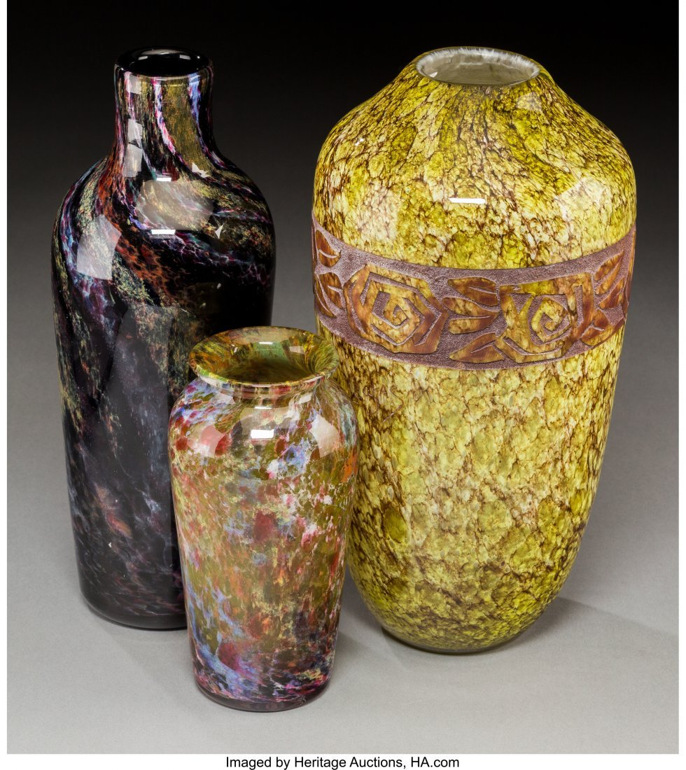 79319: Three Mottled and Agate Glass Vases Circa 1930.  - 2