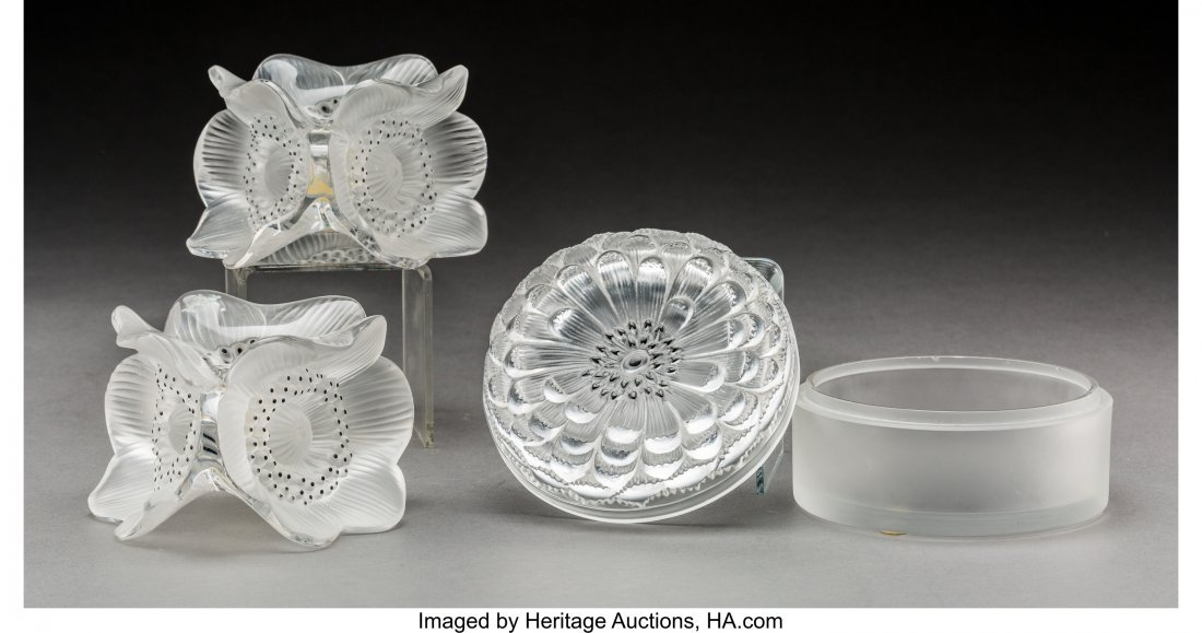 79365: Three Lalique Enameled Frosted Glass Table Artic - 2