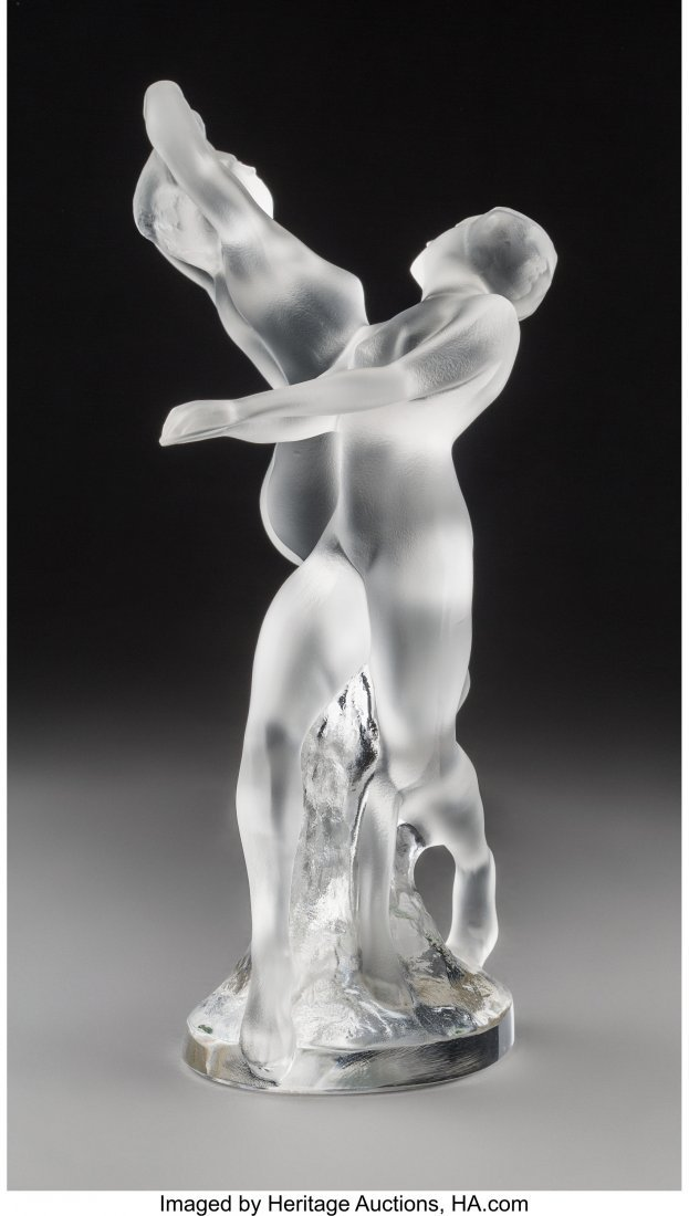 79368: Lalique Clear and Frosted Glass Deux Danseuse