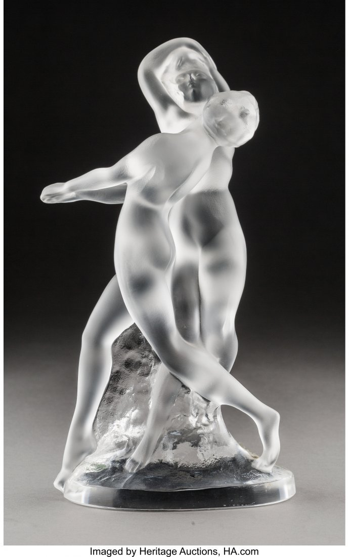 79368: Lalique Clear and Frosted Glass Deux Danseuse    - 2