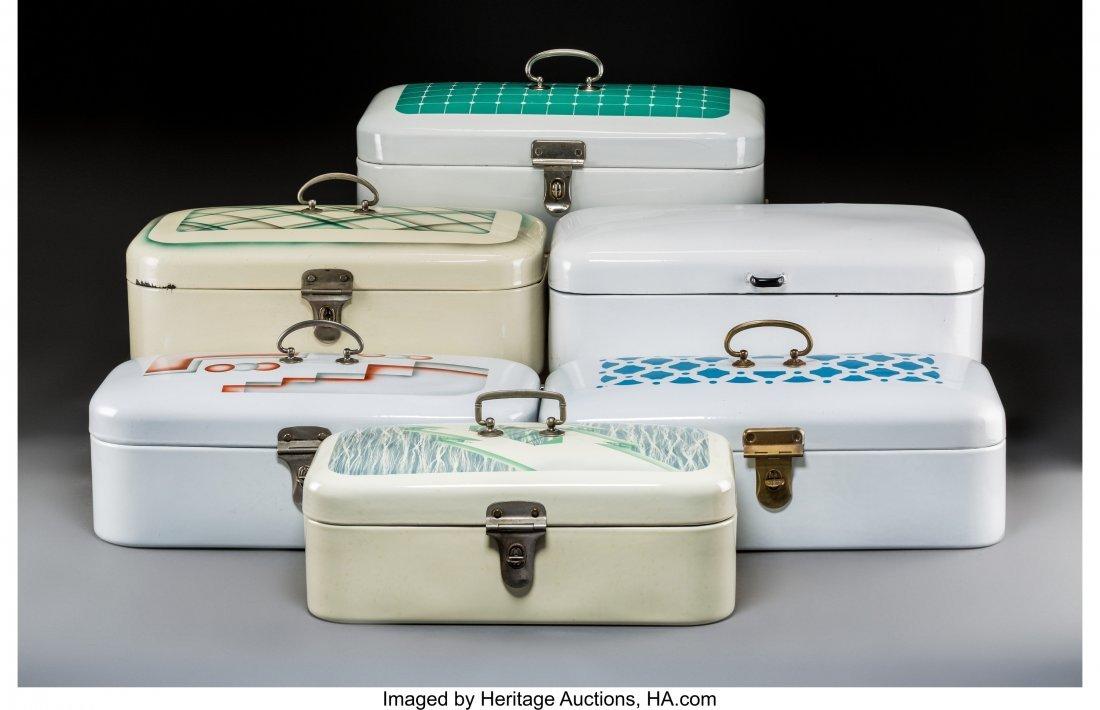 79341: Six Art Deco Spritzdekor Enameled Bread Boxes Ci